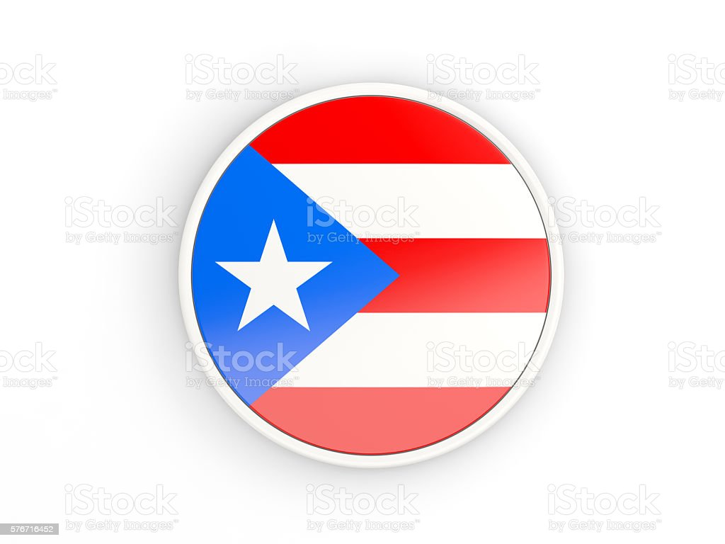 Flag of puerto rico. Round icon with frame - foto de stock