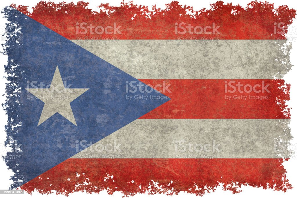 Bandera de Puerto Rico con tratamiento apenado vintage - foto de stock