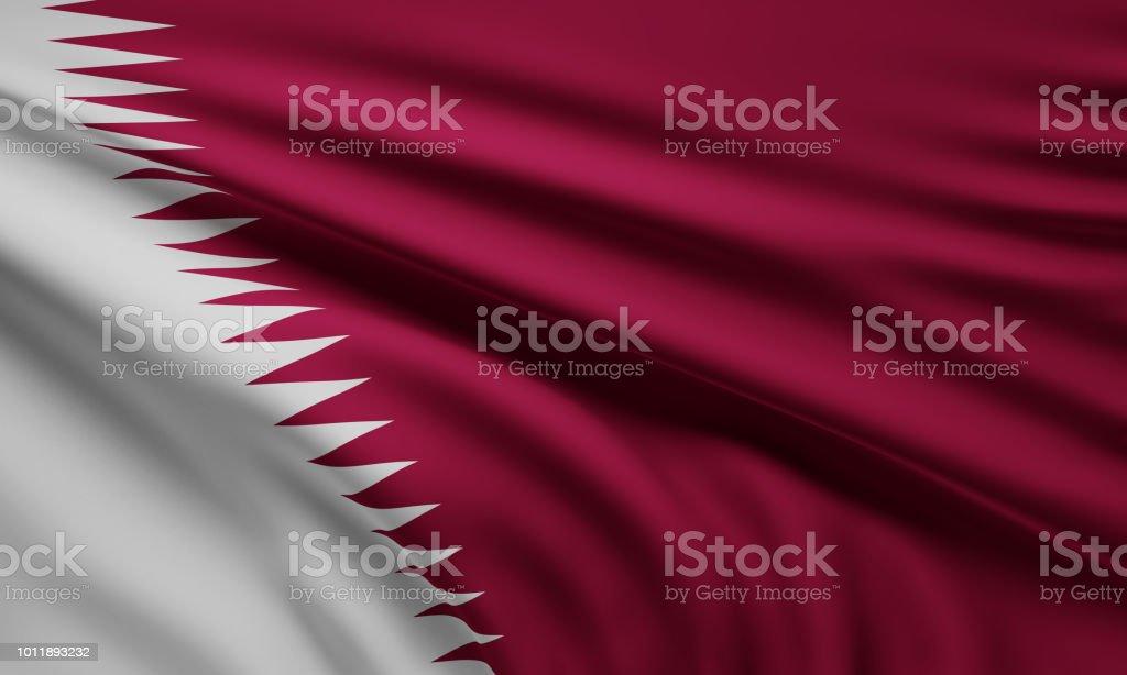 Bandera de Qatar 3d-ilustración - foto de stock