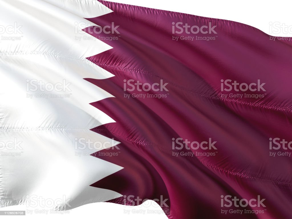 Bandera de Qatar ondeando en el viento, fondo blanco aislado. - foto de stock