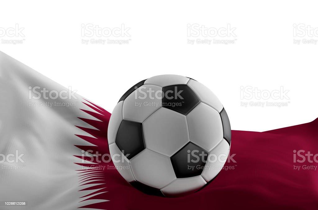 Bandera de Qatar con la pelota de Futbol 3d-ilustración - foto de stock