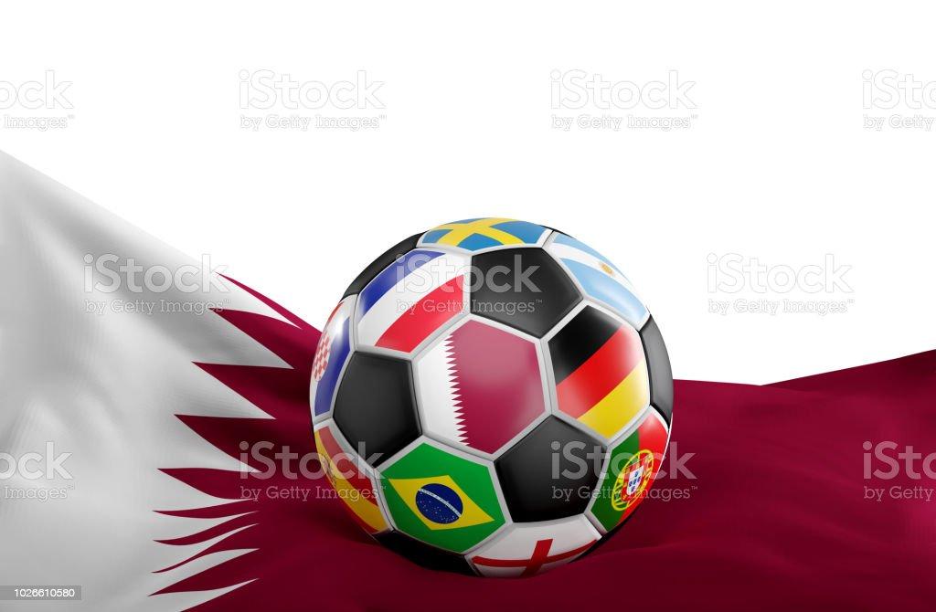 Bandera de Qatar con fútbol bola banderas diseño 3d-ilustración - foto de stock