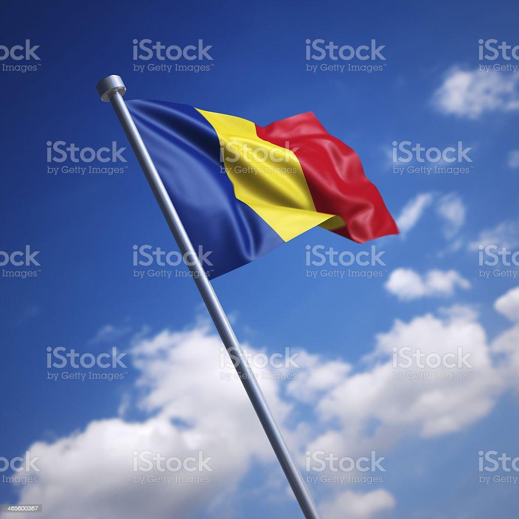 Flag of Romania against blue sky stock photo