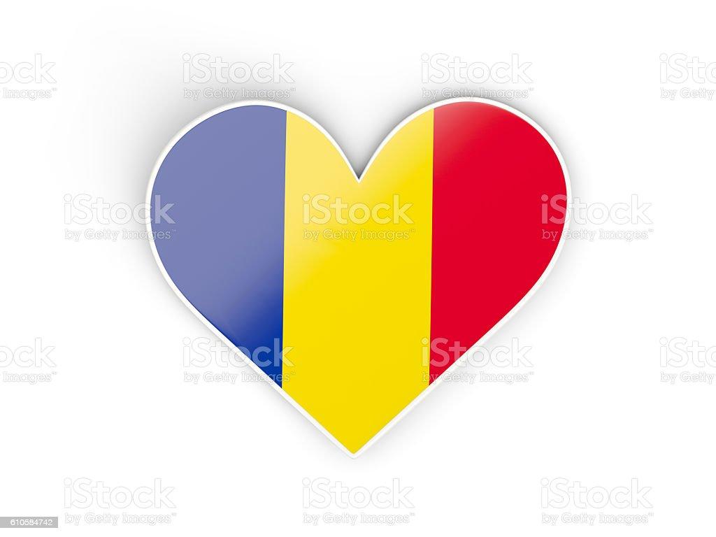 Flag of romania, heart shaped sticker stock photo