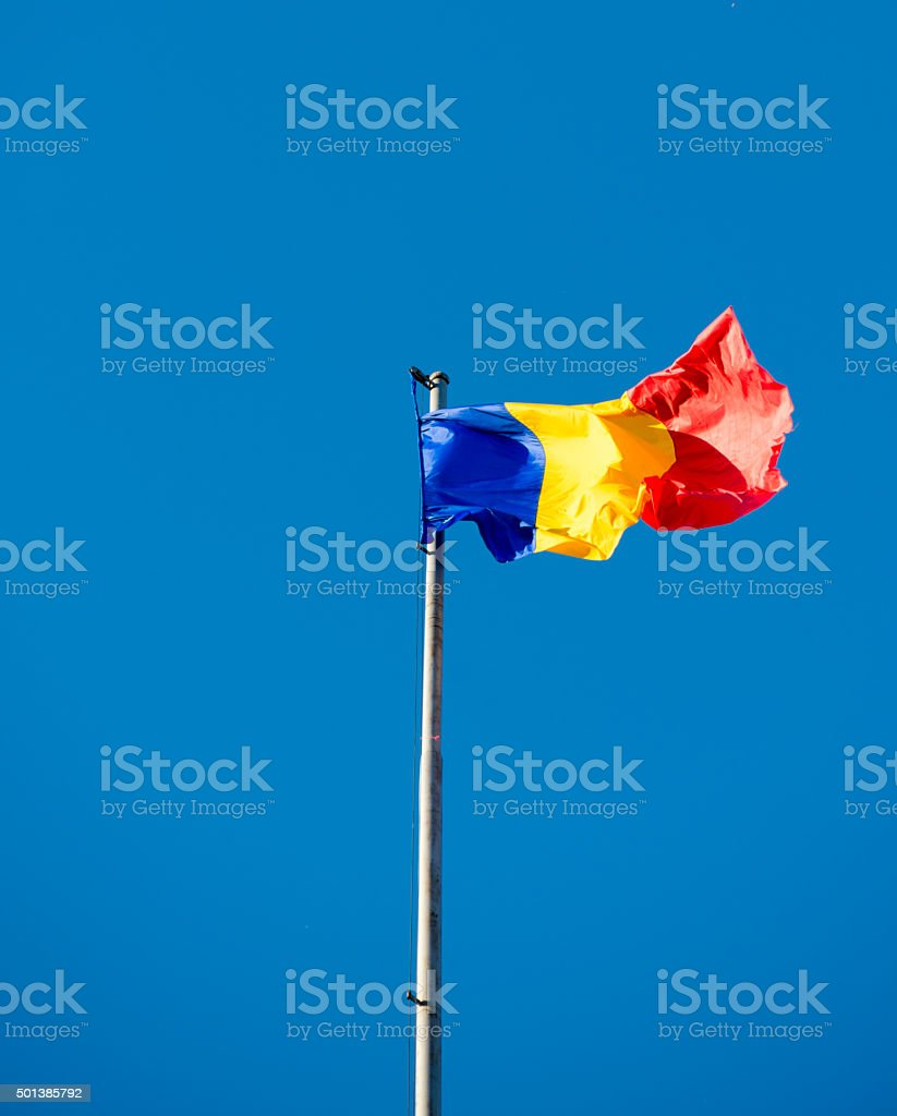 Flag of Romania, in a sunny day stock photo
