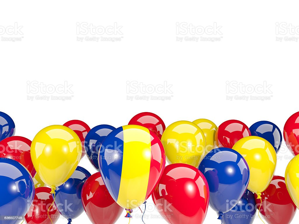 Flag of romania with balloons stock photo