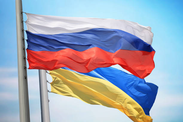 flag of russia and ukraine - ukraine stock pictures, royalty-free photos & images
