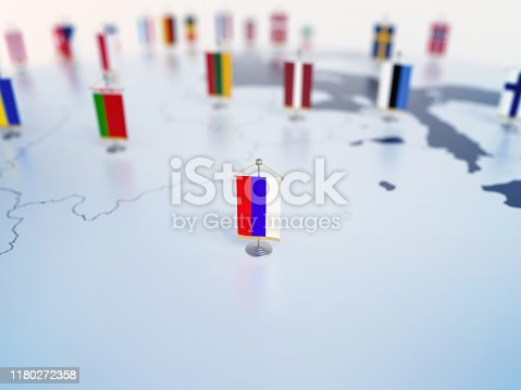 Flag of Russia in focus among other European countries flags. Europe marked with table flags 3d rendering