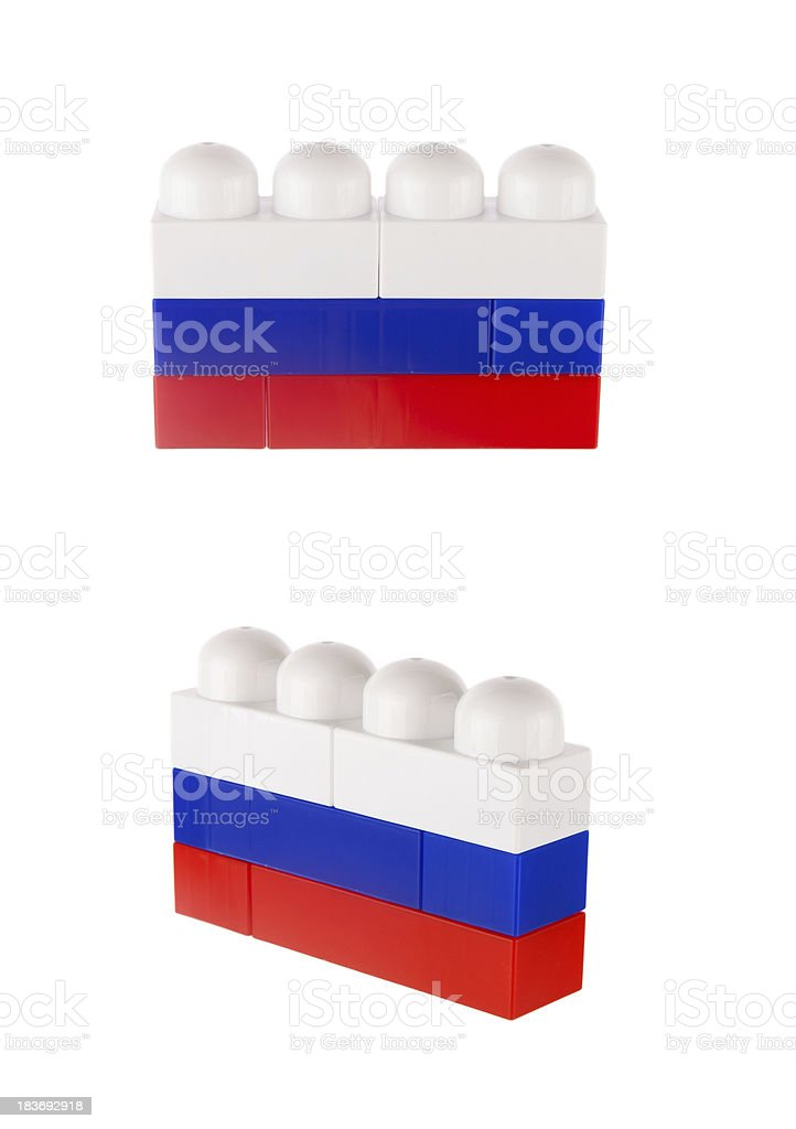 Flag of Russia made from toy building blocks royalty-free stock photo