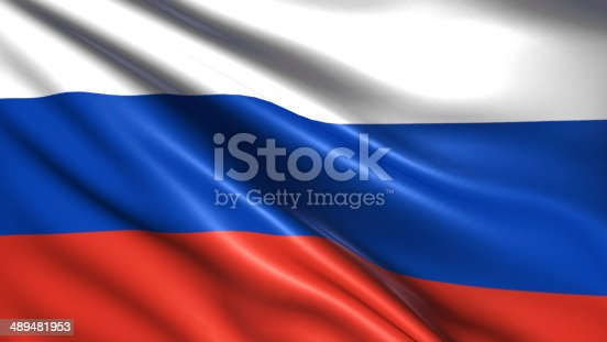 Russian Federation flag with fabric structure
