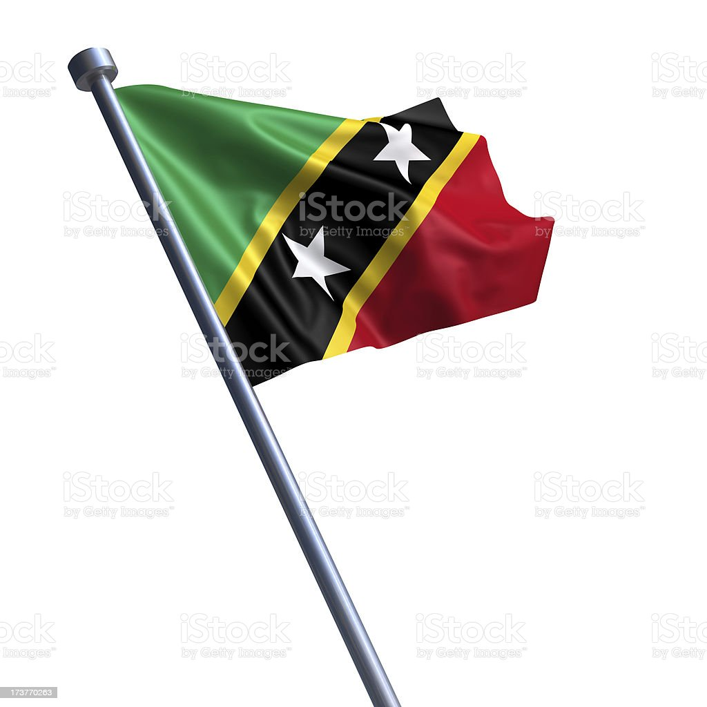 Flag of Saint Kitts and Nevis isolated on white stock photo