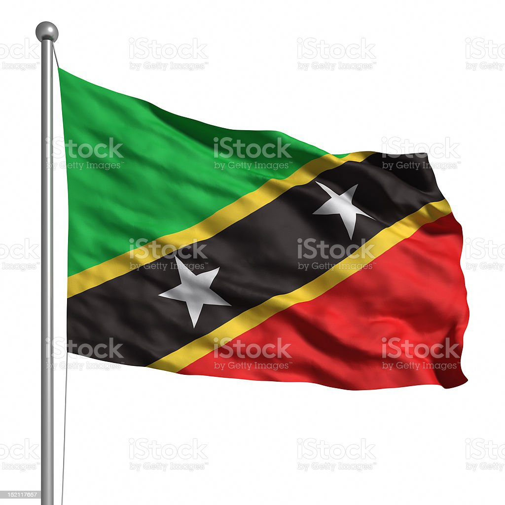 Flag of Saint Kitts and Nevis (Isolated) stock photo