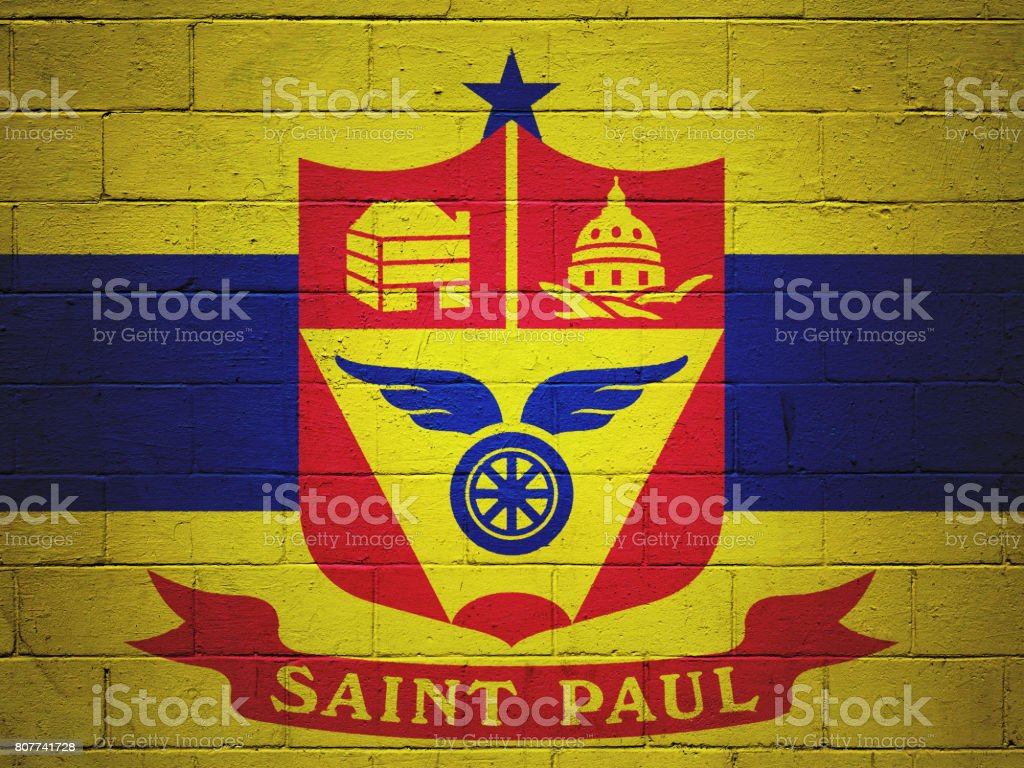 Flag of Saint Paul painted on a wall stock photo
