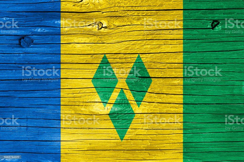 Bandeira de São Vicente e Granadinas em madeira - foto de acervo