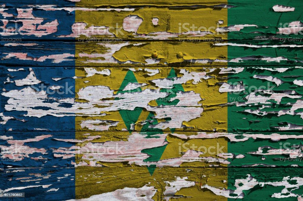 Bandeira de São Vicente e Granadinas pintado numa prancha de grunge - foto de acervo