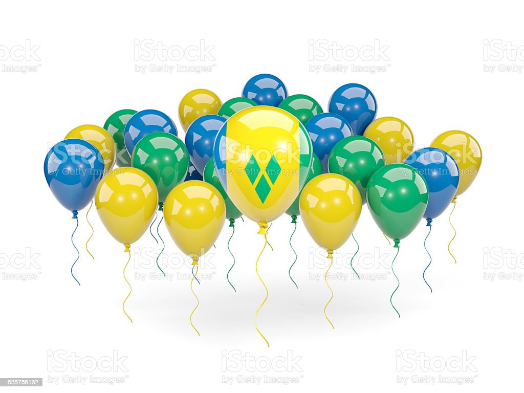 Flag of saint vincent and the grenadines with balloons - foto de acervo