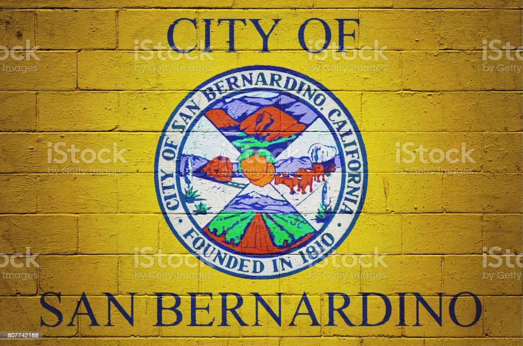 Flag of San Bernardino painted on a wall stock photo