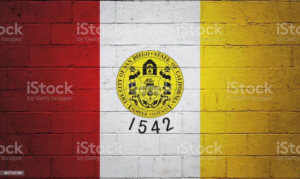 Flag of San Diego painted on a wall stock photo