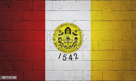 Flag Of San Diego Painted On A Wall Stock Photo & More Pictures of ...