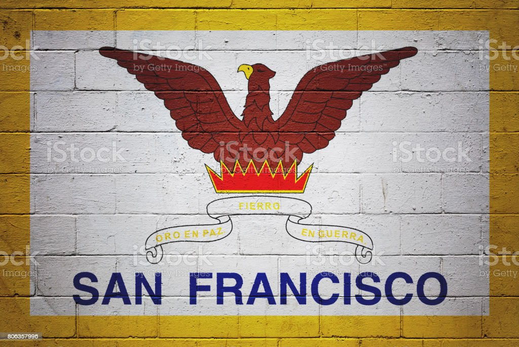 Flag of San Francisco painted on a wall stock photo