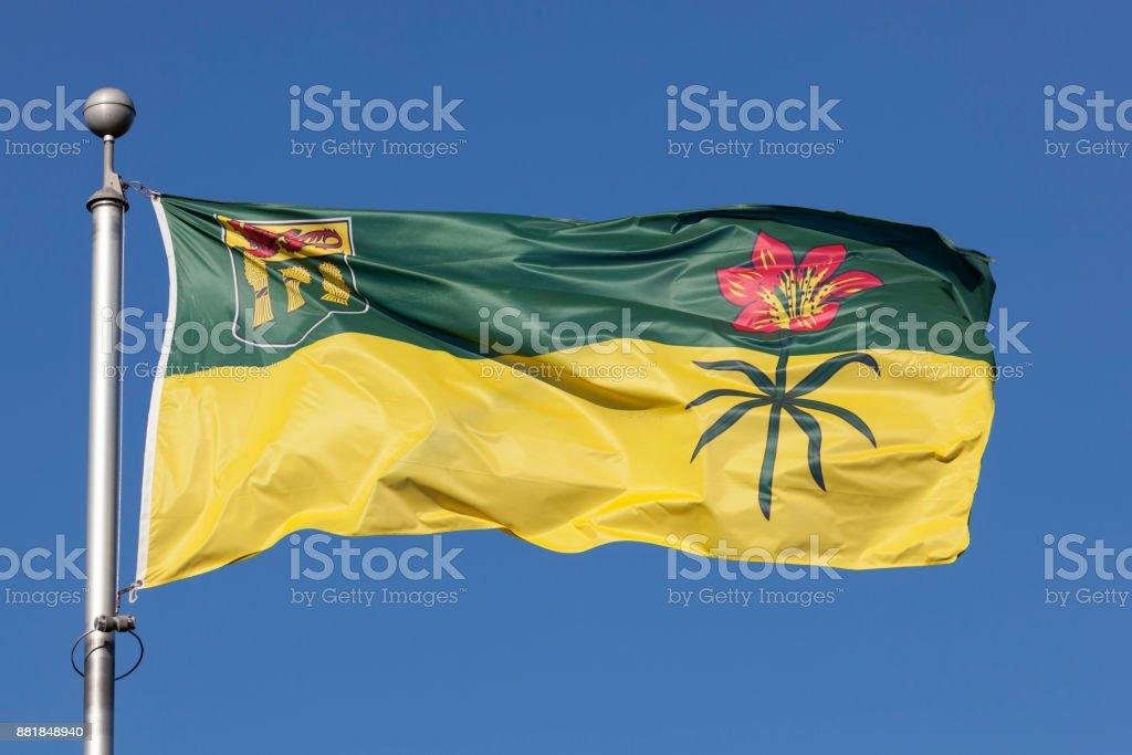 Flag of Saskatchewan, Canada stock photo