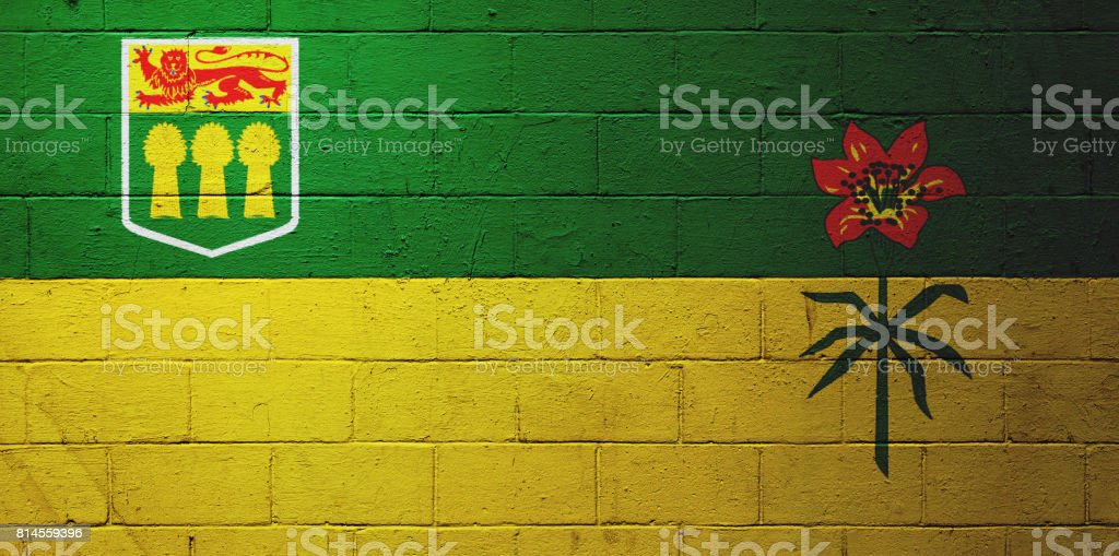 Flag of Saskatchewan painted on a wall stock photo