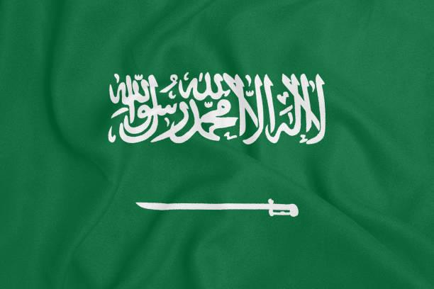 질감 직물에 사우디 아라비아의 국기. 애국심 - saudi national day 뉴스 사진 이미지