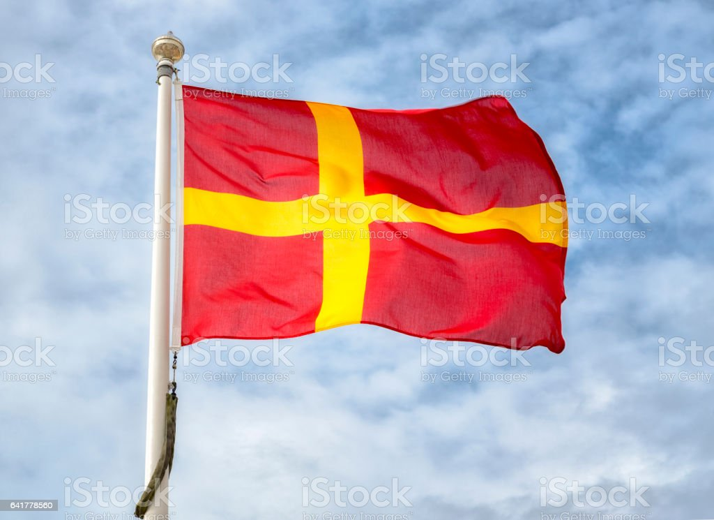 Flag of Scania Sweden stock photo
