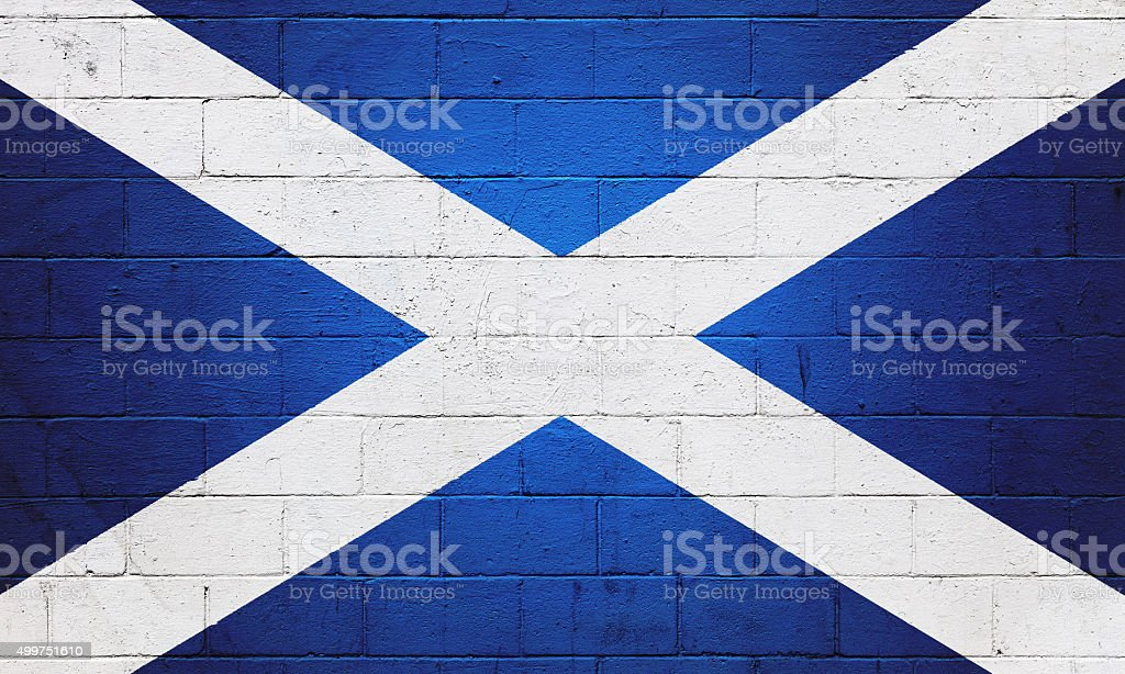 Flag of Scotland painted on a wall stock photo