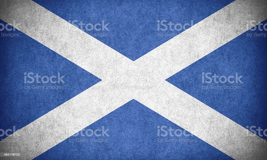 Flag of Scotland with rough texture stock photo