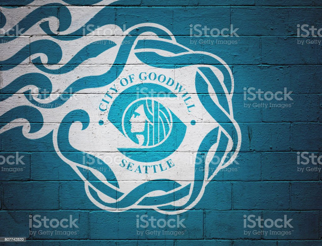 Flag of Seattle painted on a wall stock photo