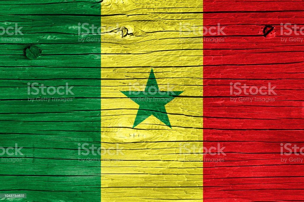 Bandeira do Senegal na madeira - foto de acervo