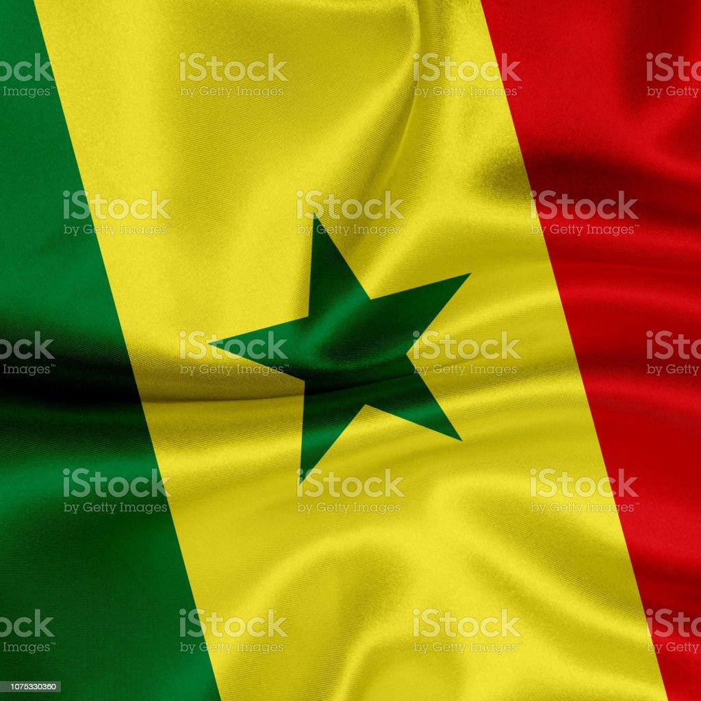 Bandeira do Senegal acenando fundo - foto de acervo