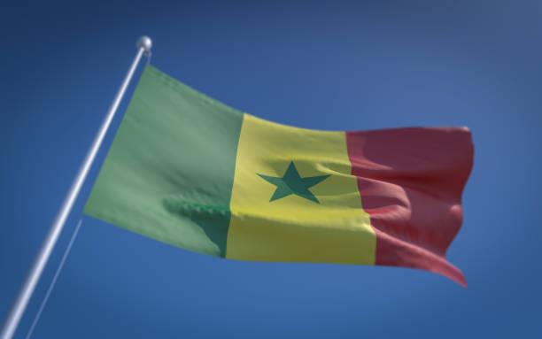 Bandeira do Senegal balançando com o vento - foto de acervo