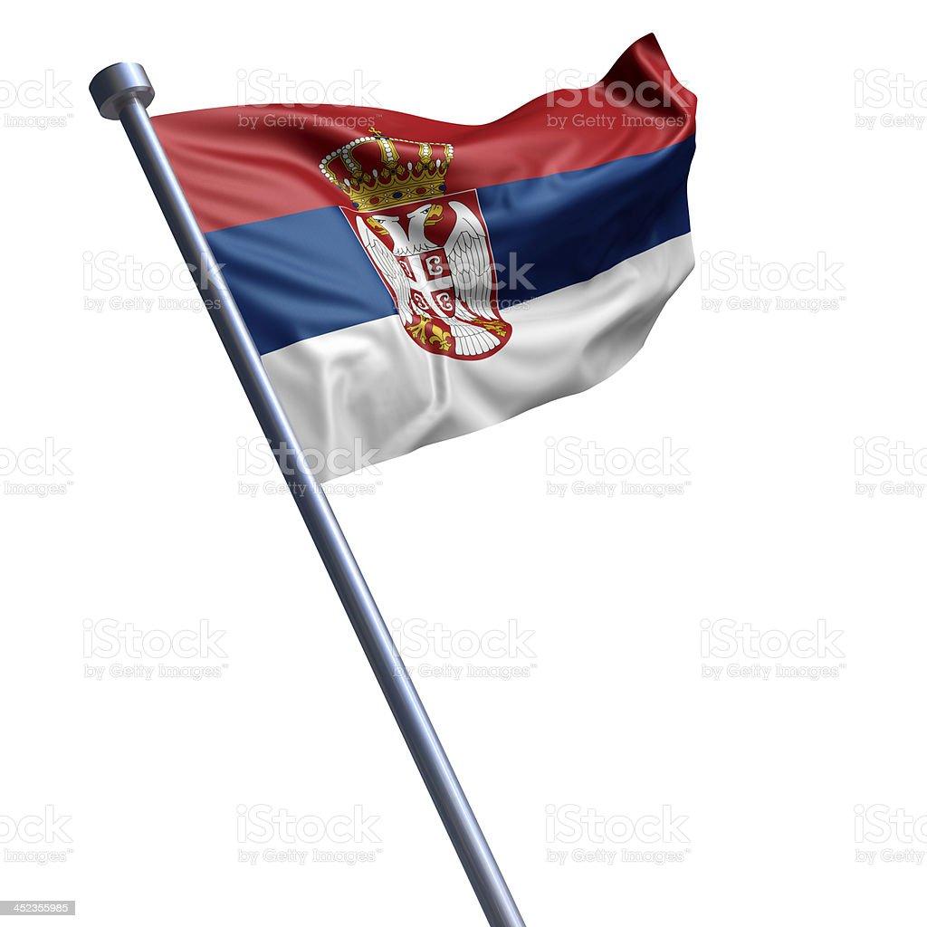 Bandeira da Sérvia isolado a branco - fotografia de stock