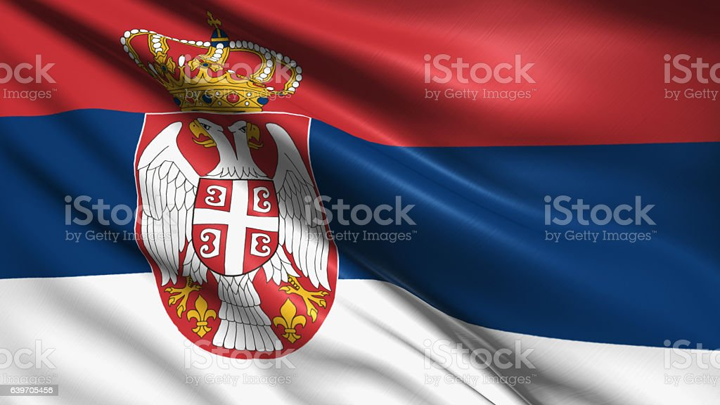 flag of Serbia stock photo