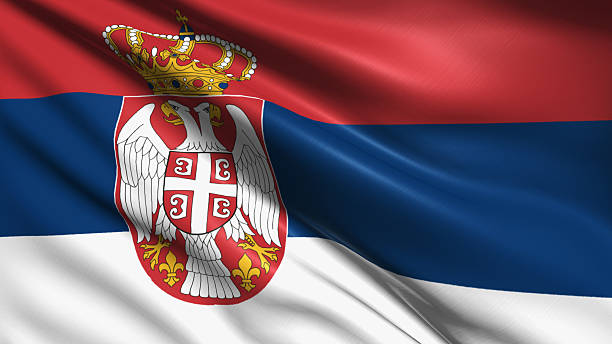 flag of serbia - serbia stock pictures, royalty-free photos & images