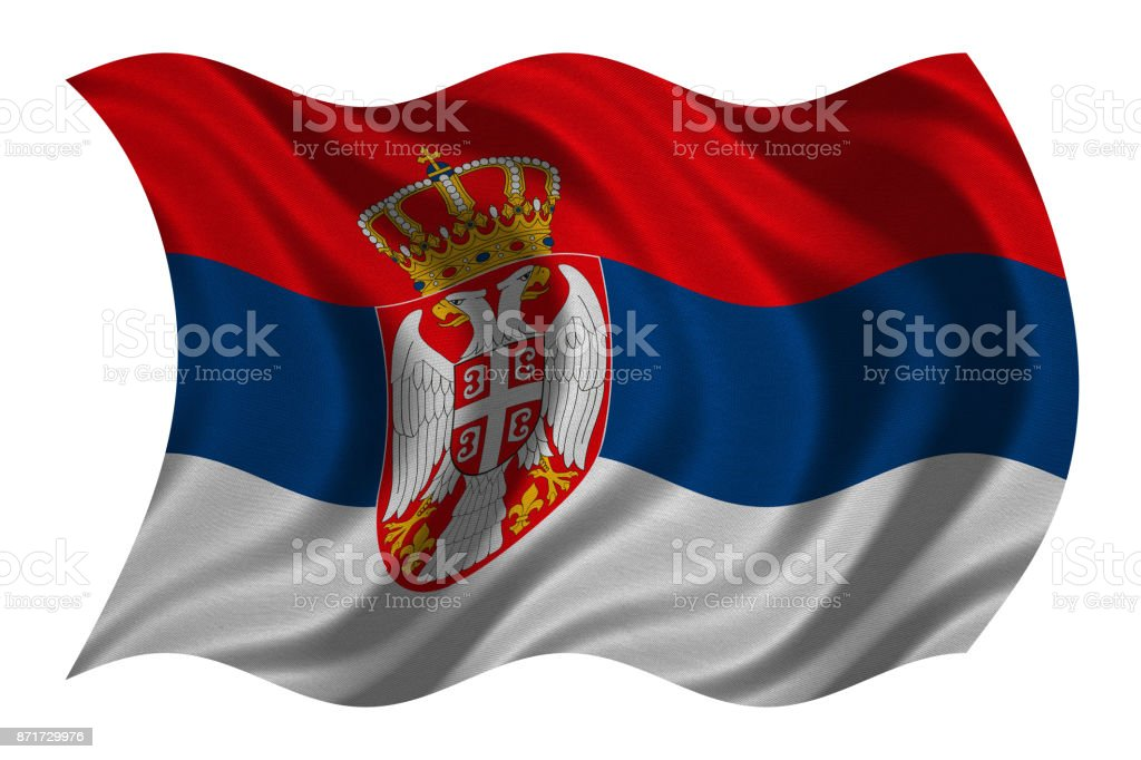 Flag of Serbia wavy on white, fabric texture - fotografia de stock