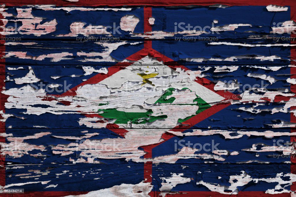 Drapeau de Sint Eustatius peinte sur une planche de grunge - Photo de Armoiries libre de droits