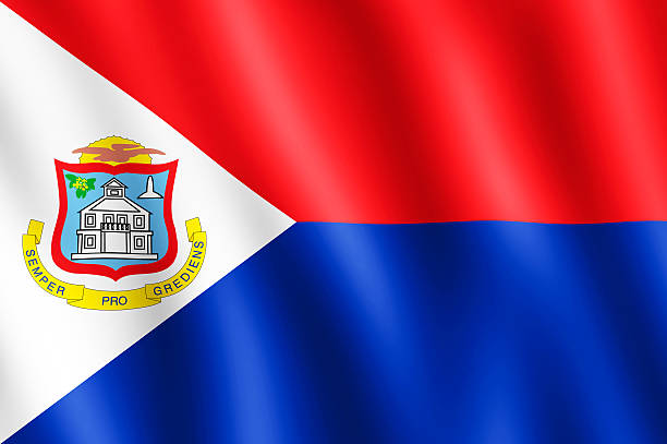 Flag of Sint Maarten waving in the wind stock photo