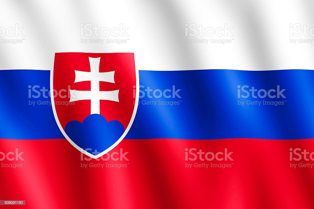 Flag of Slovakia waving in the wind stock photo