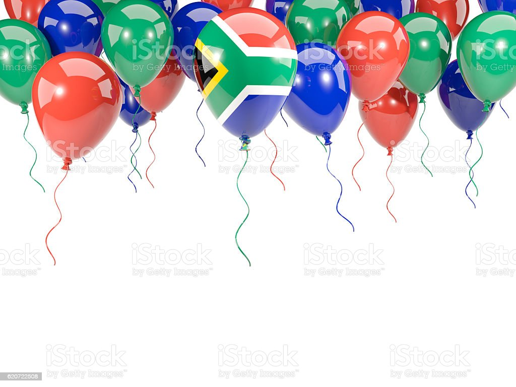 Flag of south africa on balloons stock photo