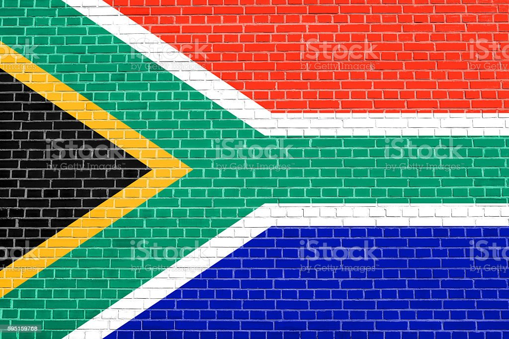 Flag of South Africa on brick wall background stock photo
