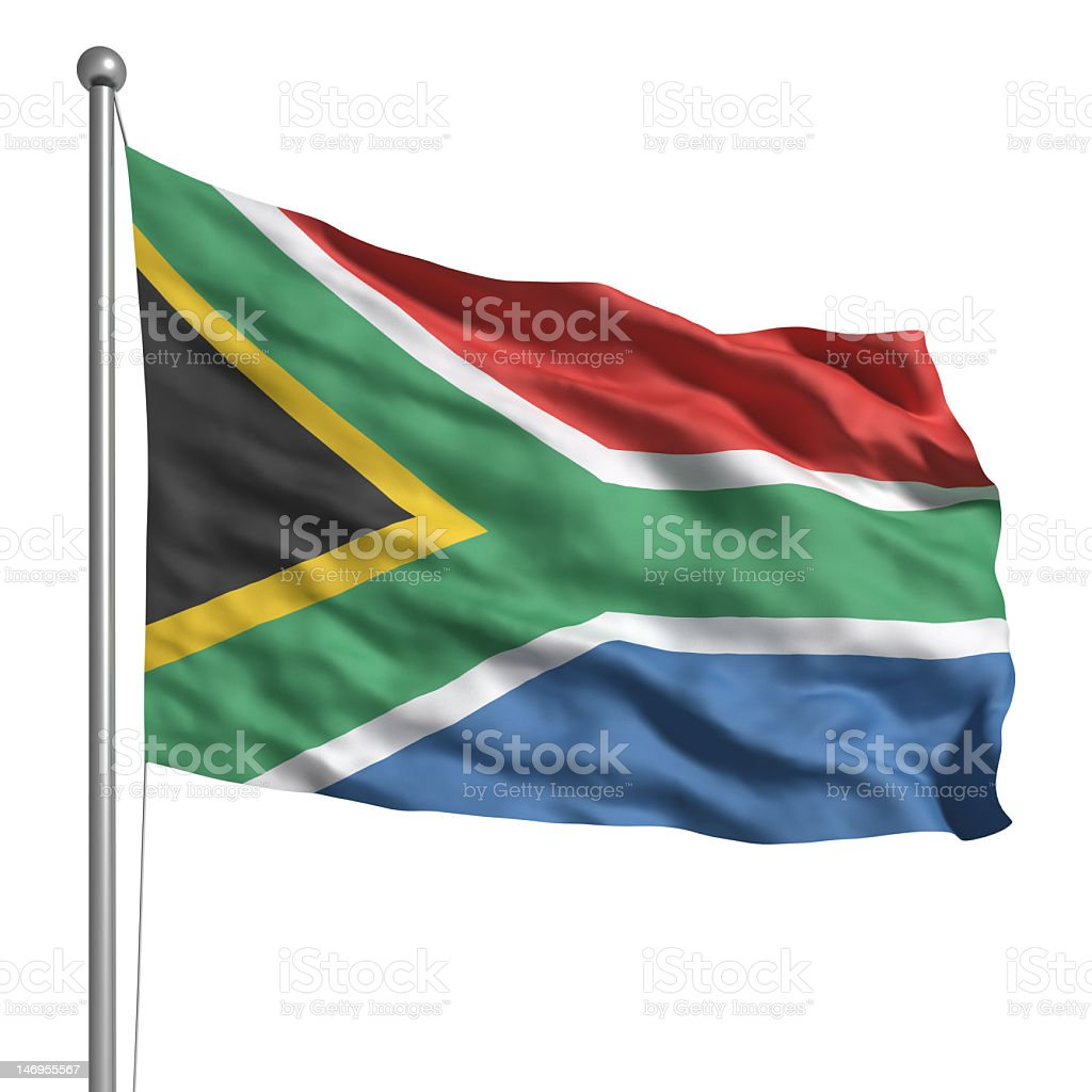 Flag of South Africa (Isolated) stock photo