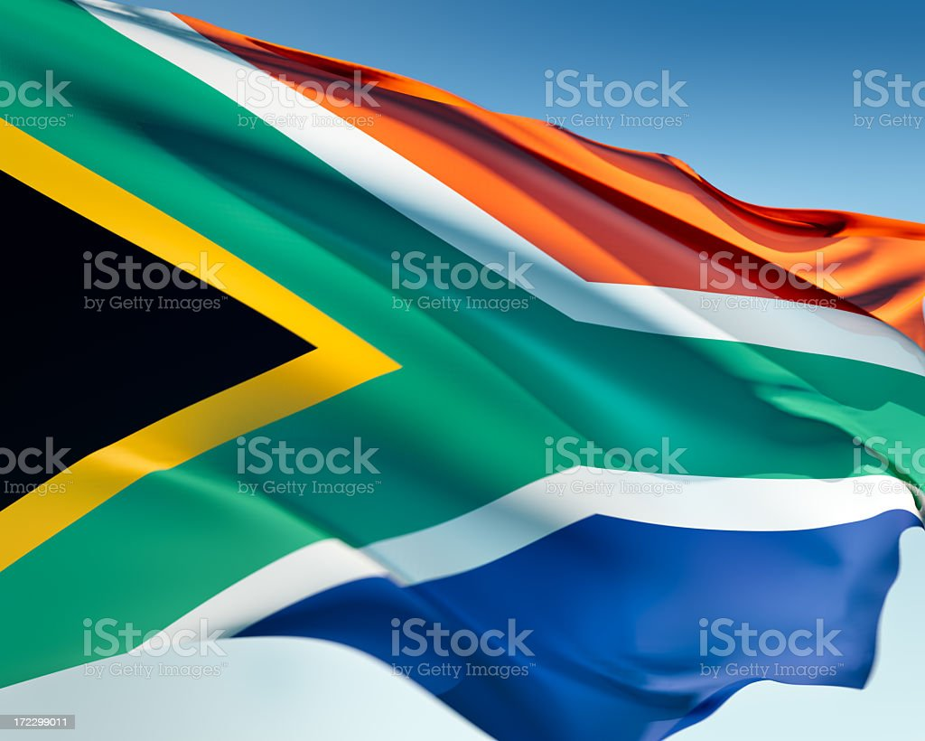 Flag of South Africa waving in the wind stock photo