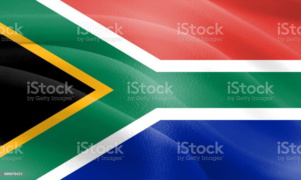 Flag of South Africa with a cloth texture and subtle highlights stock photo