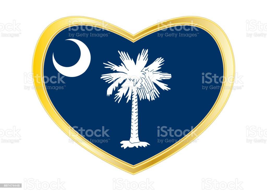 Flag of South Carolina in heart shape Golden frame stock photo