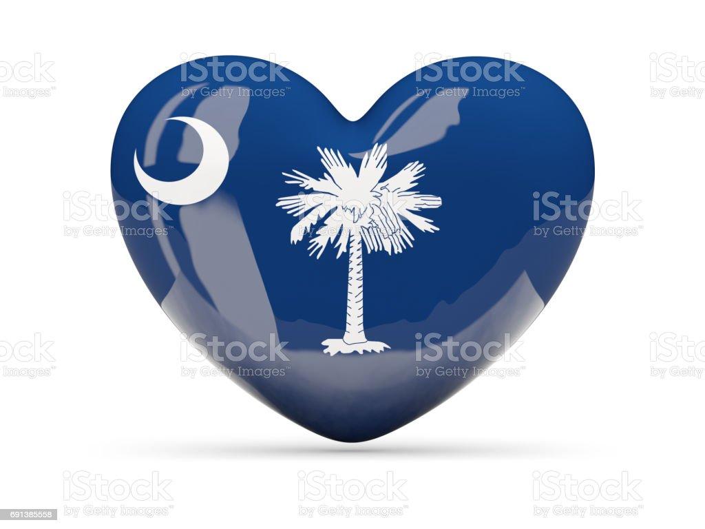 Flag of south carolina, US state heart icon stock photo