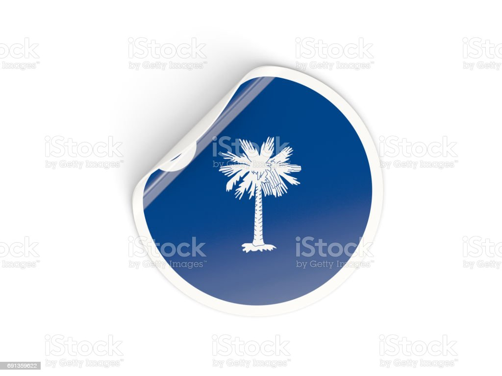 Flag of south carolina, US state round sticker stock photo