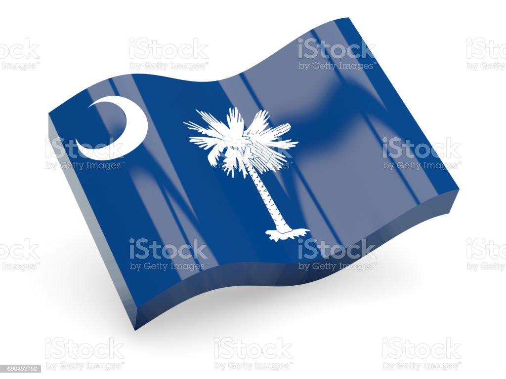 Flag of south carolina, US state wave icon stock photo